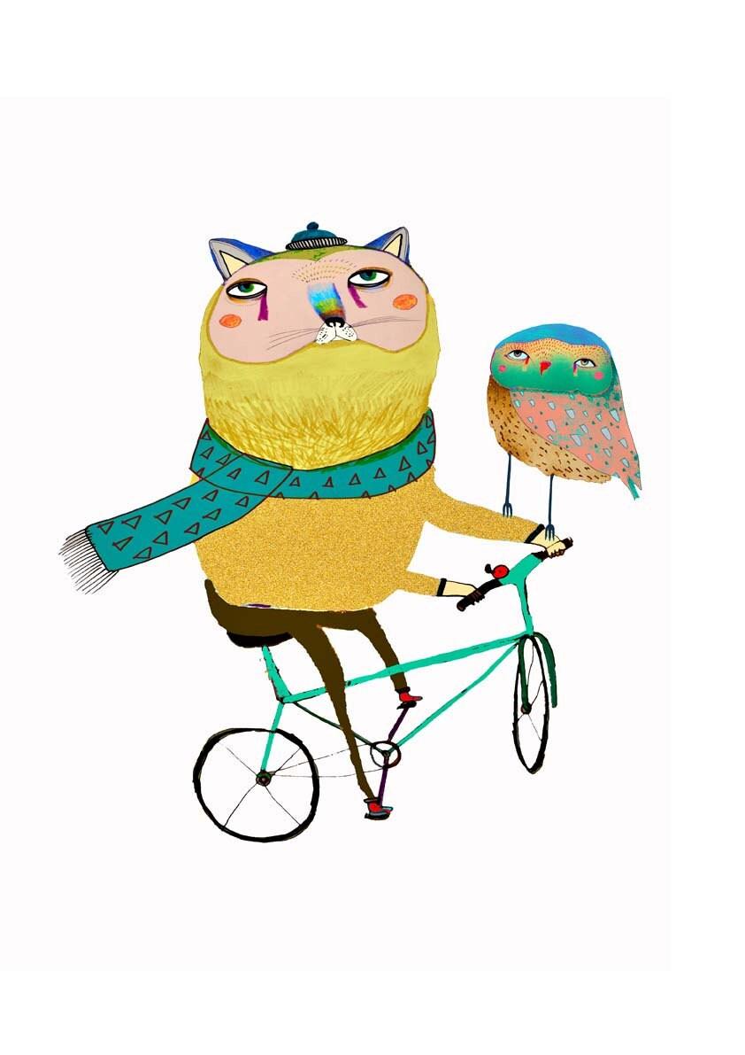 Cat and Owl on Bike. wall art prints kids art home decor