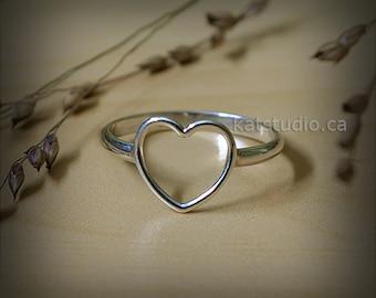 Heart Ring, love ring, silver ring, open heart ring, love ring, sterling silver heart ring, Sterling Silver 925, Jewelry by KatStudio