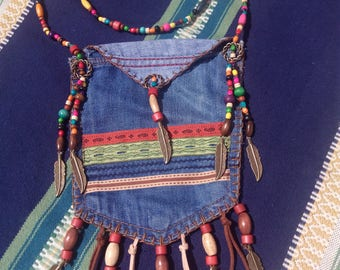 Bohemian style denim bag