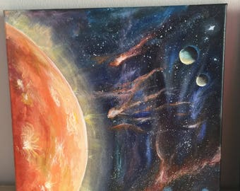 Outer space , Sun, acrylic painting , contemporary art , wall art , planets