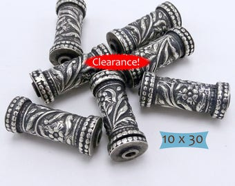 Long Sterling Silver Hand Crafted Drum Bead--1 Pc--40% OFF   35-PK310-1