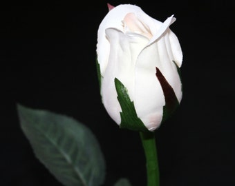 1 Vanilla Princess Rose Bud - Barely Blooming - Artificial Flowers, Silk Roses - PRE-ORDER