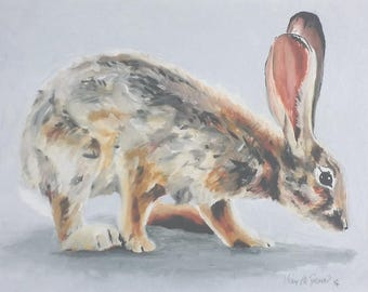 Sniffing - a giclee reproduction from an original oil painting of a desert cottontail rabbit by artist Karine Swenson