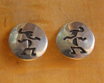 Navajo Silver Earrings Clips Figural