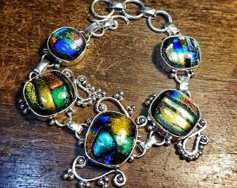 Dichroic Glass Bracelet Sterling Silver Gemstone