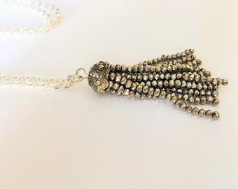 Gray Crystal &  Rhinestone TASSEL NECKLACE / Silver / Trendy Necklace / Stocking Stuffer / Fidget Jewelry / Gift Boxed