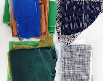 fabric scrap bundle. small sewing project. quilting fabrics