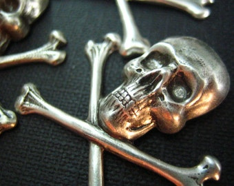 3 PC large Pirate Skull and Crossbones Stampings Oxidized Silver--48
