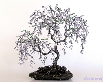 Wisteria Beaded Bonsai Wire Tree Sculpture - MADE TO ORDER Custom