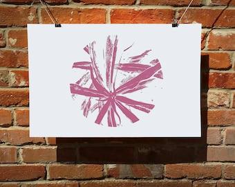 Pink star silkscreen print, pink screen print, pink wall art, botanical print, nature screen print, pink print, pink wall decor