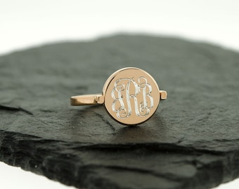 925 Sterling Silver Monogram Flip Ring, Two Sided Ring, Double Side Ring, Personalized Ring, Rose Gold