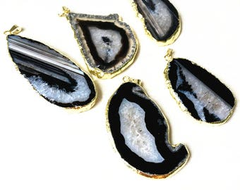 SALE Black Agate Geode Slice Druzy Pendant Electroplated with Gold Edges - Drusy Druzzy Agate Slice Pendant (S2V4_36)
