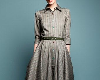 Shirt dress Cocktail dress Grey dress Wool dress 1950s dress 50s dress Retro dress Full skirt dress Tailored dress Handmade Vintage inspired