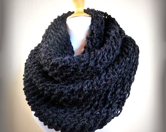 MARENGO GREY (Or Choose Color) infinity scarf / cowl -- wool blend, chunky, fashion accessories, gray - gift, handmade