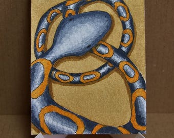 Artist trading card. ACEO. Original watercolour. 'Snake Eyes.'