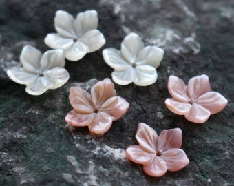 10pcs Carved Mother of Pearl Shell Flowers   - natural mother of pearl beads - color shell beads - MOP beads for jewelry design(BK1035)
