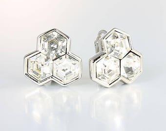 SAL Earrings, Swarosvki crystal Hexagon Earrings Clip on, Beehive Design 1980s vintage jewelry