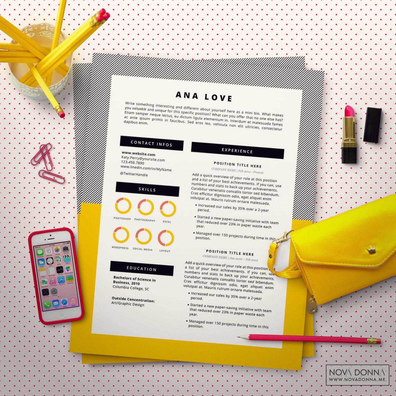 Plantilla Diseño Curriculum CV para Word Carta Presentación