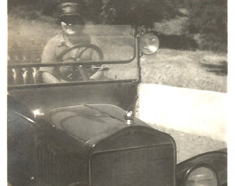 """Vintage Snapshot """"Going Places"""" Woman Driver In Open Car With Spotlight California License Plate 1920's Found Vernacular Photo"""