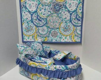 """Baby Doll Bed / Carry Cot / Moses Basket / Gift for Little Girl / Christmas Gift / 14"""" Doll"""