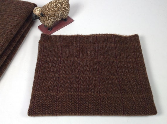 Chocolate Bar, Mill Dyed Wool for Rug Hooking and Applique, Select-a-Size, W454, Dark Brown Herringbone texture, Fudge Bar Brown