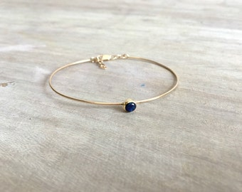 14k Gold Bangle With Sapphire Stone, Sapphire Bracelet, Bridesmaid Bracelet