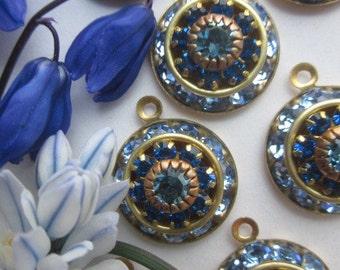Vintage Swarovski Rich Blue Three Layer  Crystal Drop