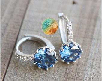 Zirconia Earrings, Blue Zirconia Earrings, Sterling Silver, December Birthstone Jewelry, Bridesmade Earrings,Bridal Earrings,Brides earrings