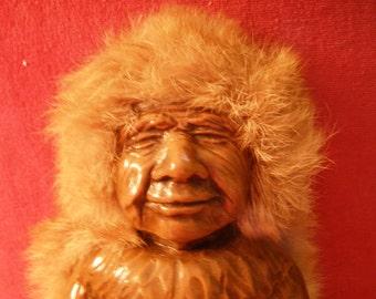 Vintage Kiani Nuni Carved Doll Alaskan Inuit Culture Figure Holding Fish