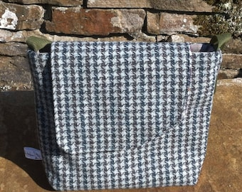 Blue and grey British houndstooth tweed handbag.  Blue tartan, satchel, gift for her, birthday gift, gift for her, present, anniversary