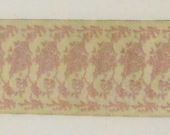 "Ivory & Pink Floral Jacquard Ribbon Trim Cream Background Rose Flower Trim French Style DiY Wedding Ribbon Sewing 1 5/8"" Wide x 4 Yards"