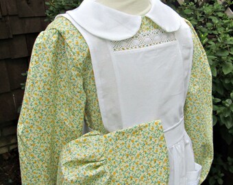 Laura's Little House Pioneer School Dress.Pinafore and Bonnet.. Girls Prairie .Please read FULL AD details.