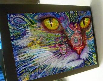 greeting card zentangle yellow eye cat blank card spirit animal