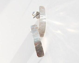 Silver Post Earrings, Silver Rectangle Earrings, Small Earrings, Hammered Silver, Post Earrings, Modern Earrings, Oxidized Silver
