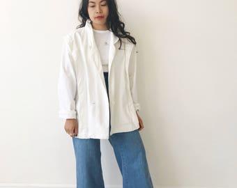 Vintage White Minimalist Cocoon Jacket