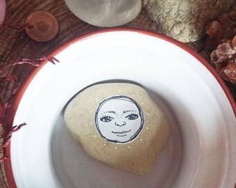 Een maantje op een steen