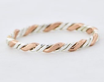 Rose Gold Twist Stackable Ring, Stacker Ring, Pink Twist Ring, Thumb Ring, Rose Gold Filled, Midi Ring, Stacking Ring, Gift For Her
