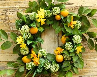 Large Lemon Summer Door Wreath - Lemon Floral Wreath - Summer Door Decor