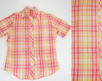 SALE---Vintage Short Sleeve Shirt Pink & Yellow Plaid Size 32