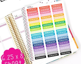 LS306 Rainbow Homework MDN Headers! Set of 60 Perfect for the Erin Condren Planner!!!