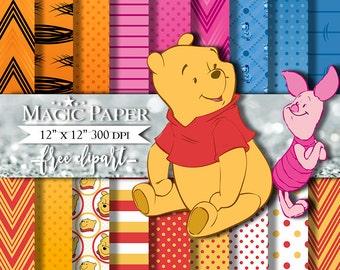Winnie Pooh Digital Paper Invitation Printable Clipart Clip Art