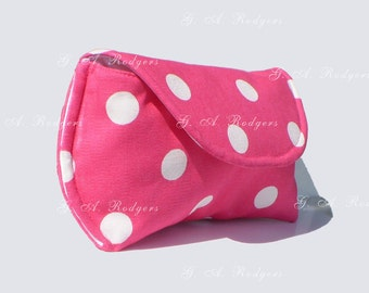 Large Sunglass Case for Oversized Sunglasses Extra Large Glasses Pouch Pink Polka Dot Patten Fabric 2 colors Gifts under 20 Free Shipping*