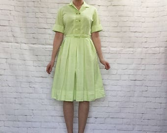 Vintage 60s Spring Green Pleated Belted Midi Day Dress Cuffed Embroidered M L