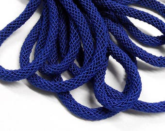15%OFF Royal Blue SILK cord soft chunky woven rope necklace tube 6mm thick organic natural handspun silk braided polyester core 1foot