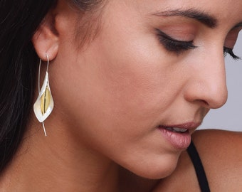 2-tones Nature inspired Gold-Plated and Sterling Silver Earrings
