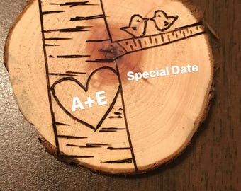 Love Birds Ornament - personalize initials & date(s)