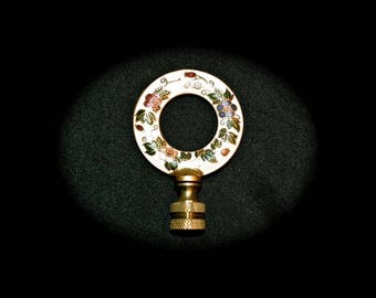 Cloisonne Flower Circle Lamp Finial, Vintage