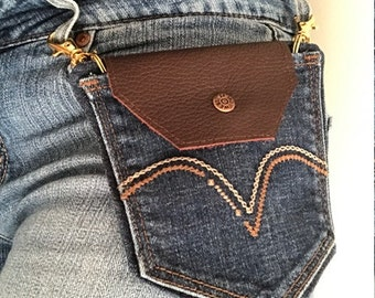 Denim and Leather Belt Loop Purse
