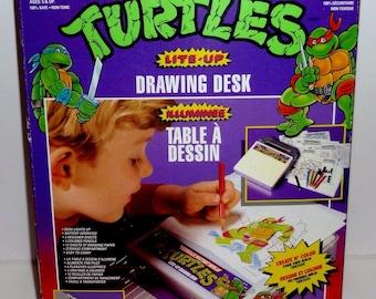 Vintage Teenage Mutant Ninja Turtles Lite Up Drawing Desk 100% Complete 1990