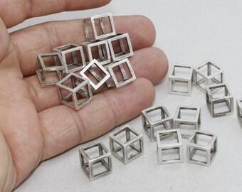 10mm Antique Silver Cube Pendant , Open Square Beads, Cube Pendant, Square Cube Necklace , AG62